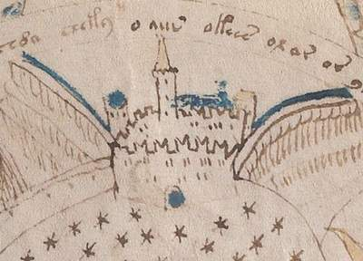 Voynich Manuscript drawing of a fortress alleged to be Montségur